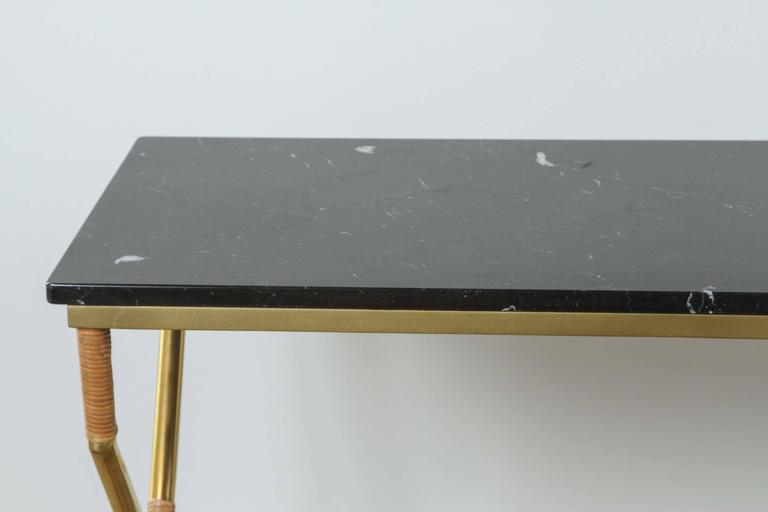 Brass and Raffia Console with Marble Top 5