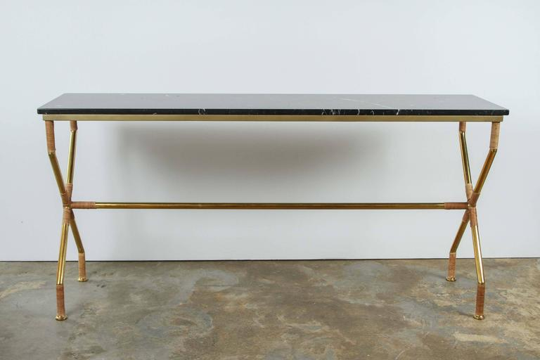 Brass and Raffia Console with Marble Top 6