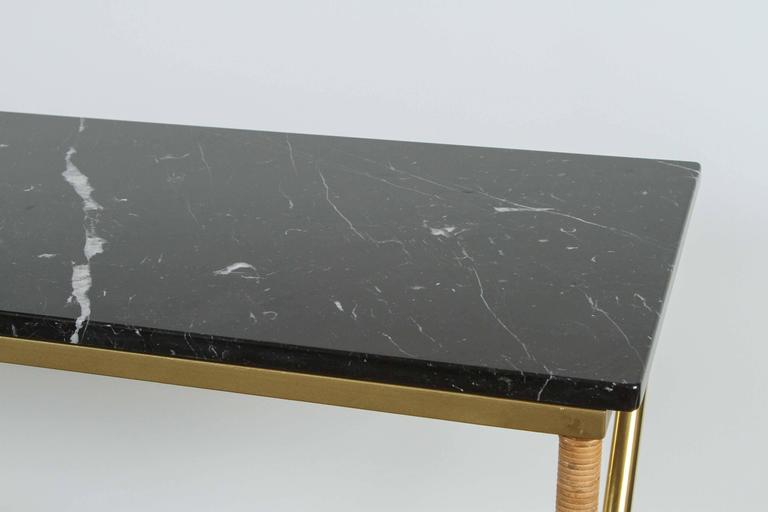 Brass and Raffia Console with Marble Top 7