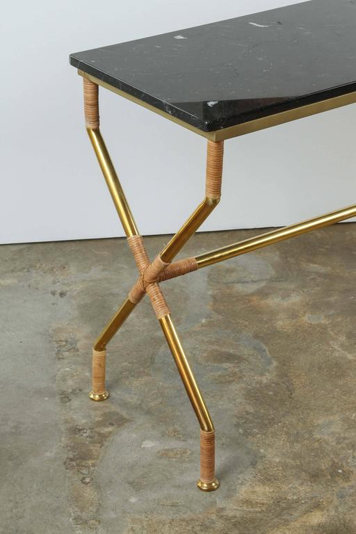 Brass and Raffia Console with Marble Top 8