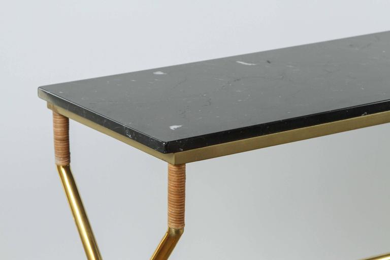 Brass and Raffia Console with Marble Top 9