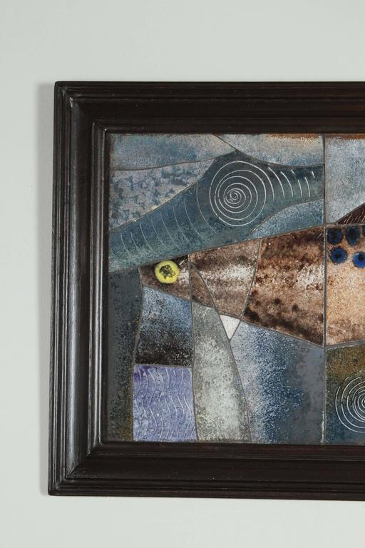 Mid-Century Modern framed fish tile. Frame refinished, ready to hang.