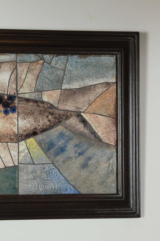 Painted Mid-Century Framed Fish Tile For Sale