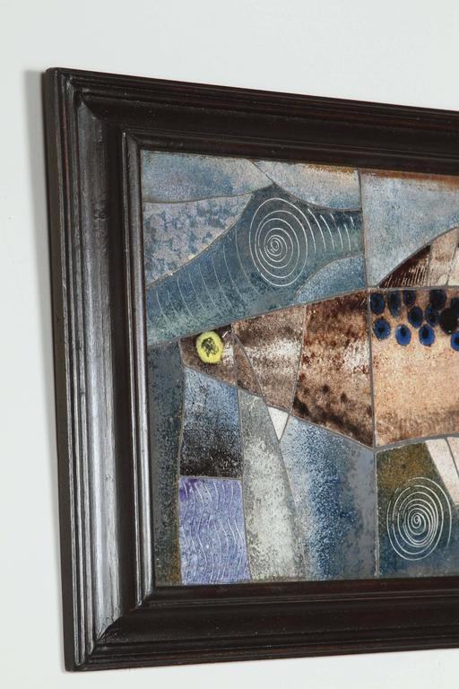 20th Century Mid-Century Framed Fish Tile For Sale
