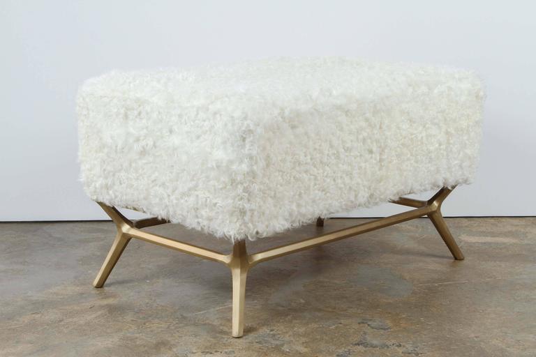 Modern Goatskin and Brass Bench 4