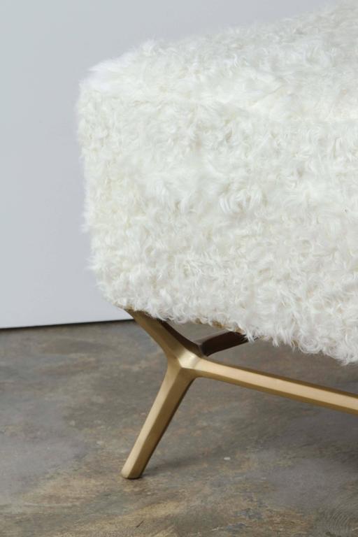 Modern Goatskin and Brass Bench 5