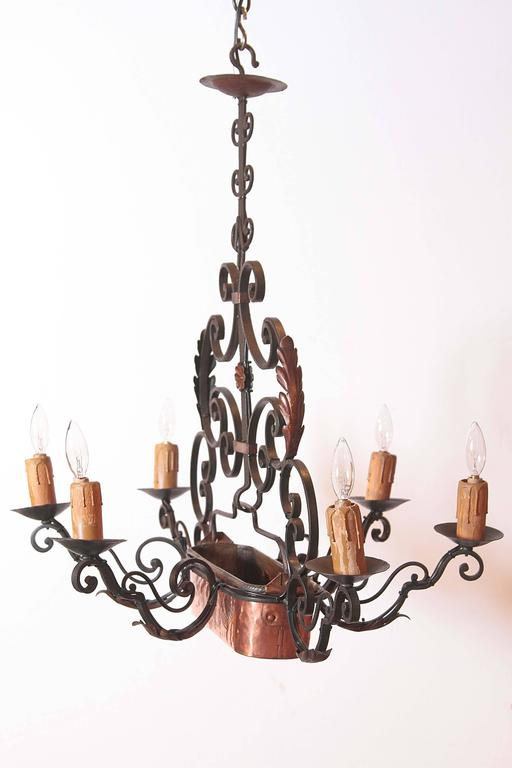 Early 20th Century Six Light Iron Chandelier With Centre