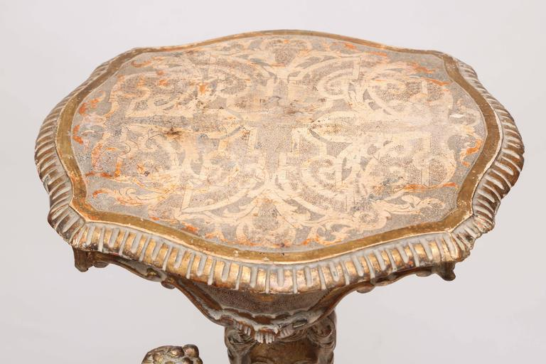 18th Century Gilded Hand-Carved Italian Figural Table In Good Condition For Sale In West Palm Beach, FL