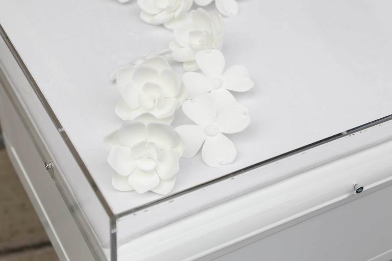 Lucite Object D'art White Lacquer & Metal X Base Desk by AMK for Patricia Kagan 8