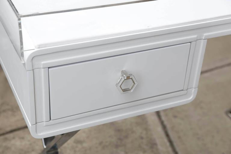 Lucite Object D'art White Lacquer & Metal X Base Desk by AMK for Patricia Kagan 3