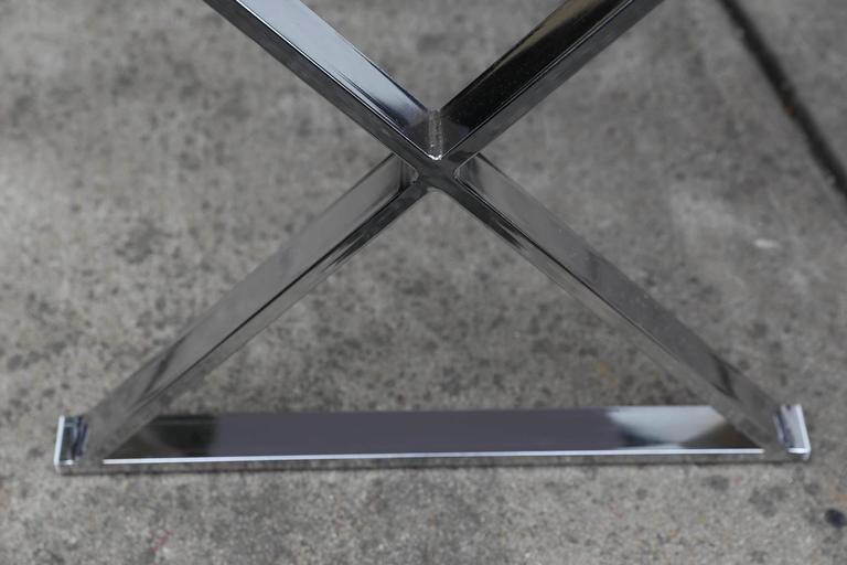 Porcelain Lucite Object D'art White Lacquer & Metal X Base Desk by AMK for Patricia Kagan