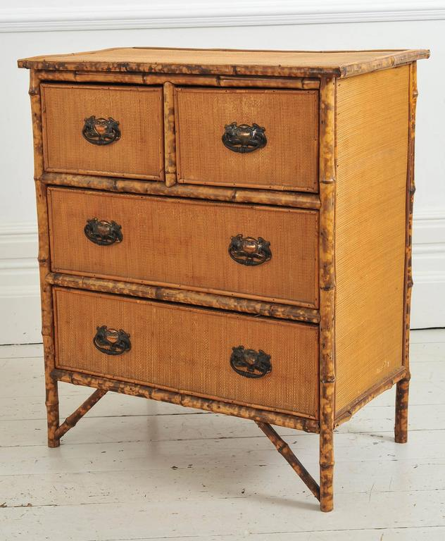 late 19th century bamboo and wicker small chest of drawers at 1stdibs. Black Bedroom Furniture Sets. Home Design Ideas