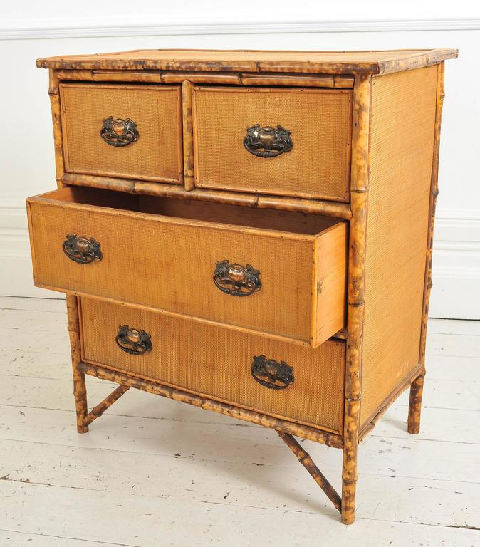 Late th century bamboo and wicker small chest of drawers