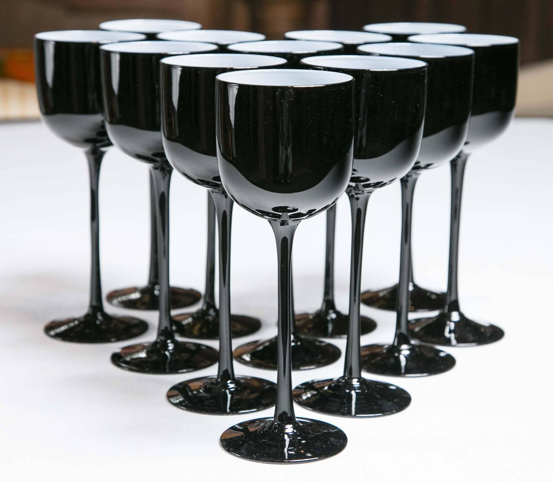 Set Of 12 Carlo Moretti Cased Glass Black Wine Glasses For Sale At 1stdibs