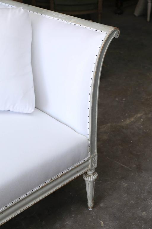 19th Century Gustavian Style Original Pale Green Painted Sofa from Sweden For Sale 2