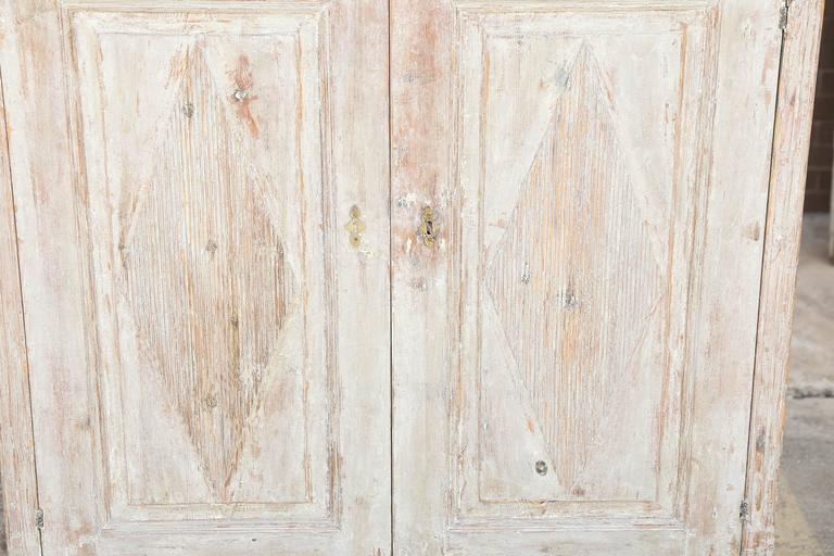 Painted Gustavian Swedish 19th Century Buffet Scraped to Original Pale Blue Paint For Sale