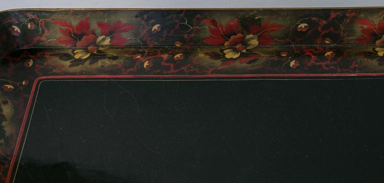 Hand-Painted Lacquer Tray on Custom Stand For Sale