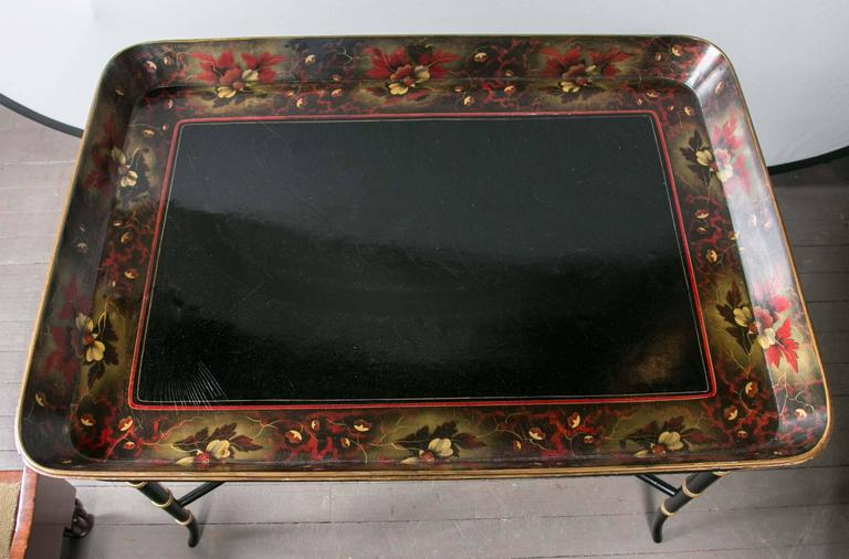 Lacquer Tray on Custom Stand In Good Condition For Sale In Woodbury, CT
