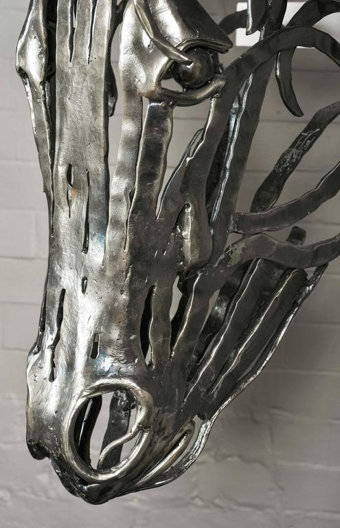 Unique Hand-Forged Model of a Horse's Head in Textured Bar Steel For Sale 3