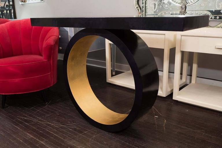 Philippine Custom Black Parchment Circle Console with Gold Leaf Interior For Sale