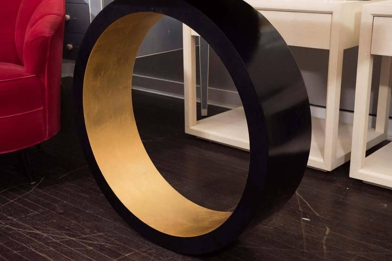 Custom Black Parchment Circle Console with Gold Leaf Interior In Excellent Condition For Sale In New York, NY