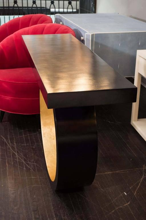 Contemporary Custom Black Parchment Circle Console with Gold Leaf Interior For Sale