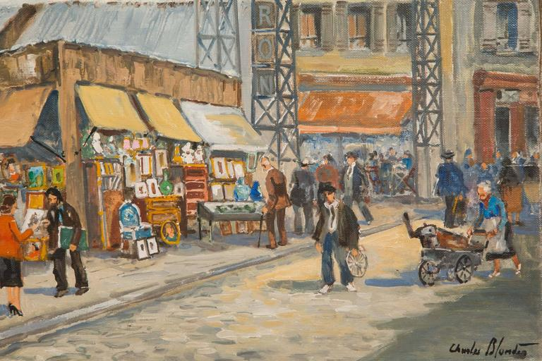 French Charles Blondin Painting, The Entry of Biron Market at Clignancourt Flea Market For Sale