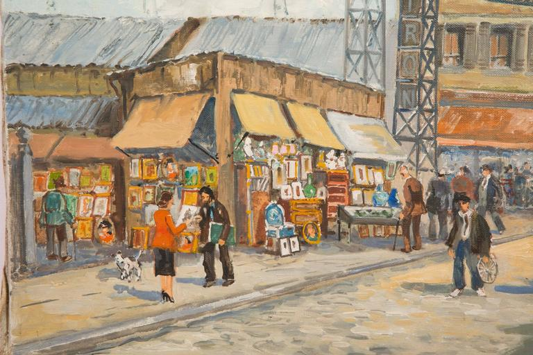 Charles Blondin Painting, The Entry of Biron Market at Clignancourt Flea Market In Excellent Condition For Sale In Paris, FR