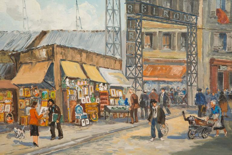 20th Century Charles Blondin Painting, The Entry of Biron Market at Clignancourt Flea Market For Sale