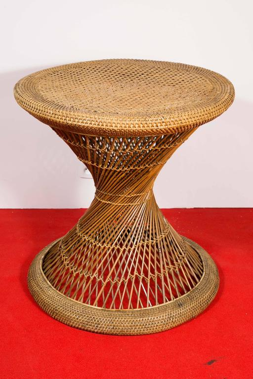 20th Century Rattan Set Hourglass Table And Stools At 1stdibs