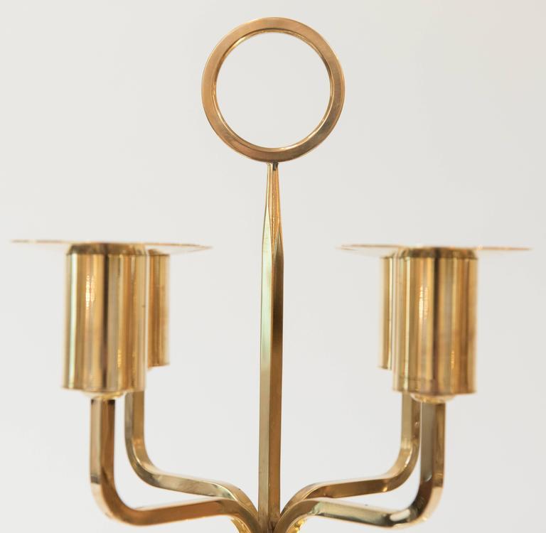 Mid-Century Modern Tommi Parzinger Brass Candelabrum For Sale