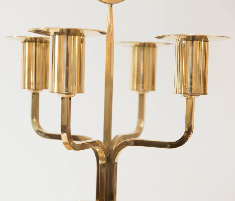 American Tommi Parzinger Brass Candelabrum For Sale