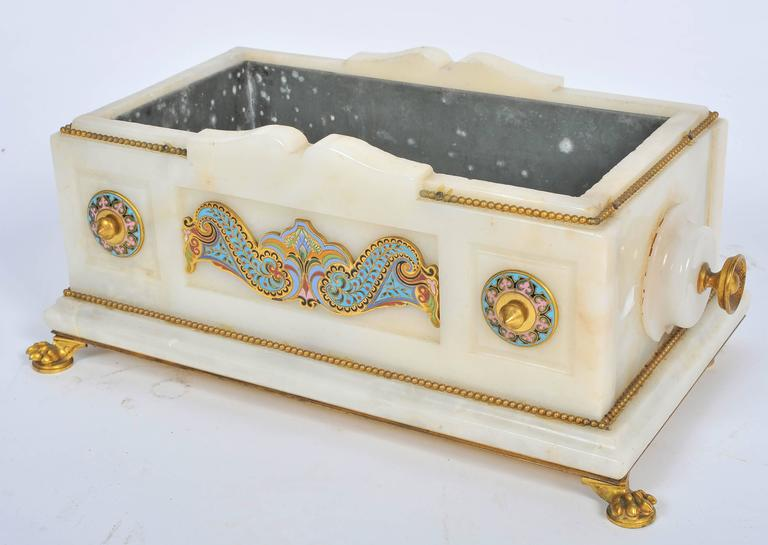 French 19th Century Marble and Champlevé Enamel Jardinière For Sale