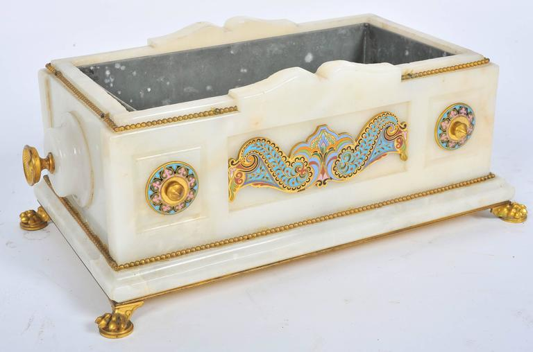 19th Century Marble and Champlevé Enamel Jardinière In Good Condition For Sale In Brighton, Sussex