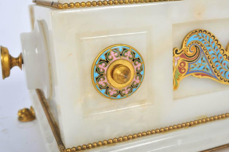 19th Century Marble and Champlevé Enamel Jardinière For Sale 1