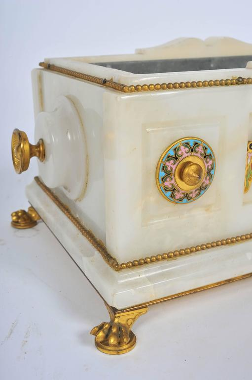 19th Century Marble and Champlevé Enamel Jardinière For Sale 3
