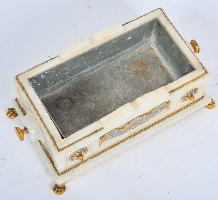 19th Century Marble and Champlevé Enamel Jardinière For Sale 5