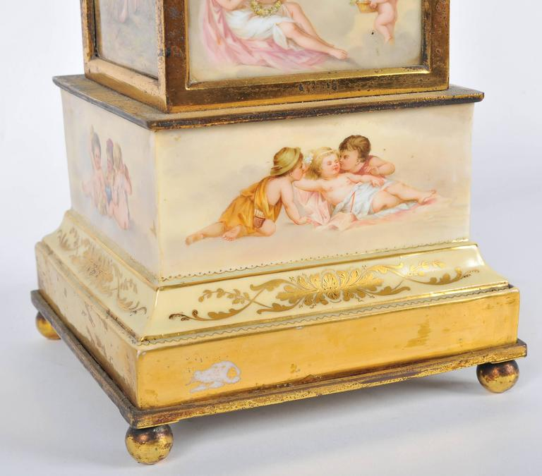 Hand-Painted 19th Century Mantel Clock For Sale
