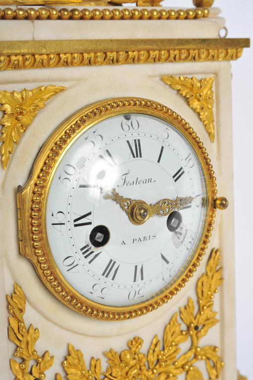 Napoleon III 19th Century French Mantel Clock, Louis XVI style, by Festeau, Paris For Sale