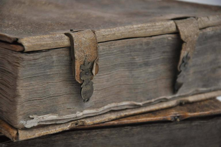 German Late 17th Century Collection of 3 Rare European Vellum Books With Pewter Buckles For Sale