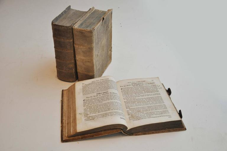 Late 17th Century Collection of 3 Rare European Vellum Books With Pewter Buckles In Good Condition For Sale In Chicago, IL