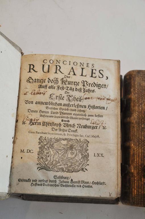 Late 17th Century Collection of 3 Rare European Vellum Books With Pewter Buckles For Sale 1