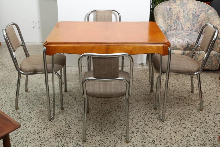 art deco kitchen table with four chairs 1940s france for sale at 1stdibs. Black Bedroom Furniture Sets. Home Design Ideas