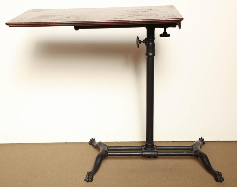 Victorian, Iron And Wood Adjustable Bedside Table For Sale