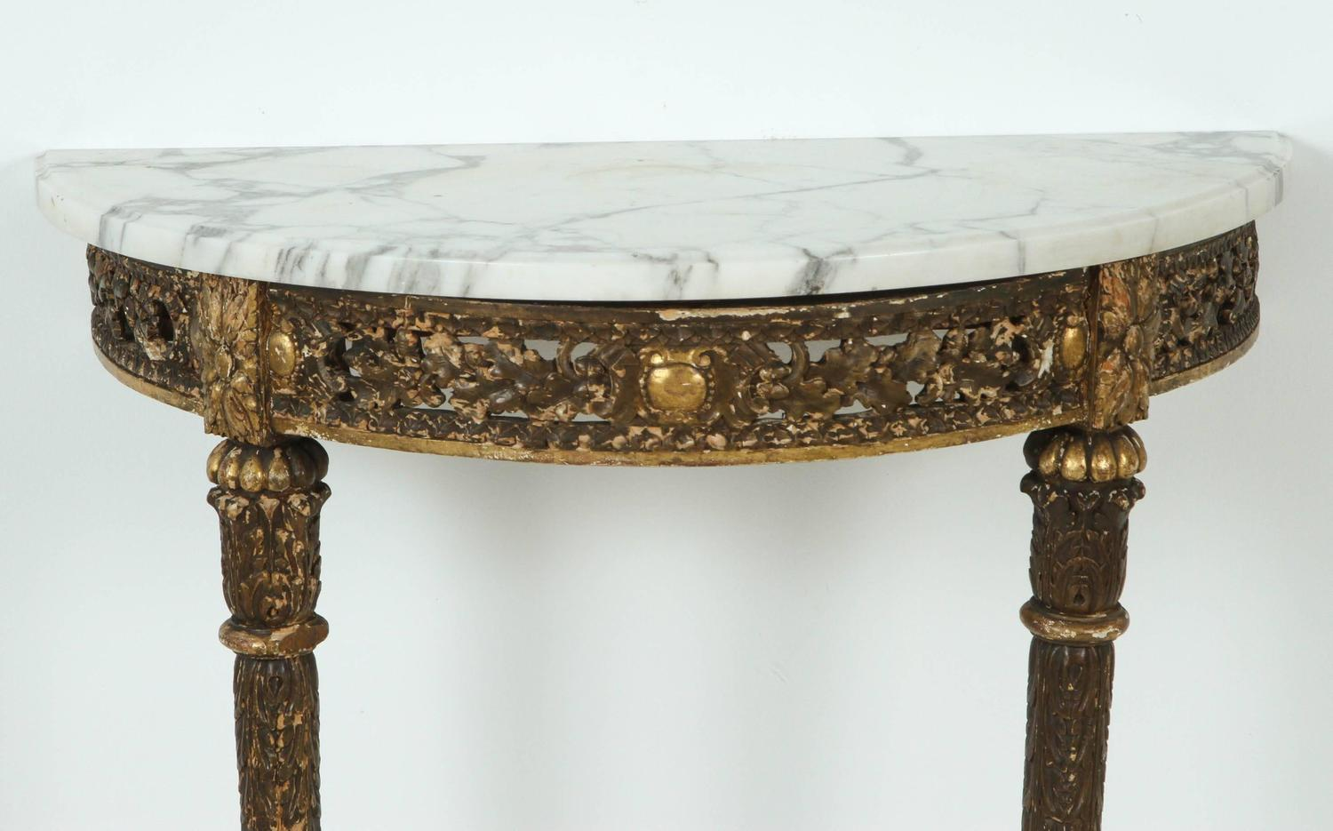 marble topped demilune console table for sale at 1stdibs. Black Bedroom Furniture Sets. Home Design Ideas