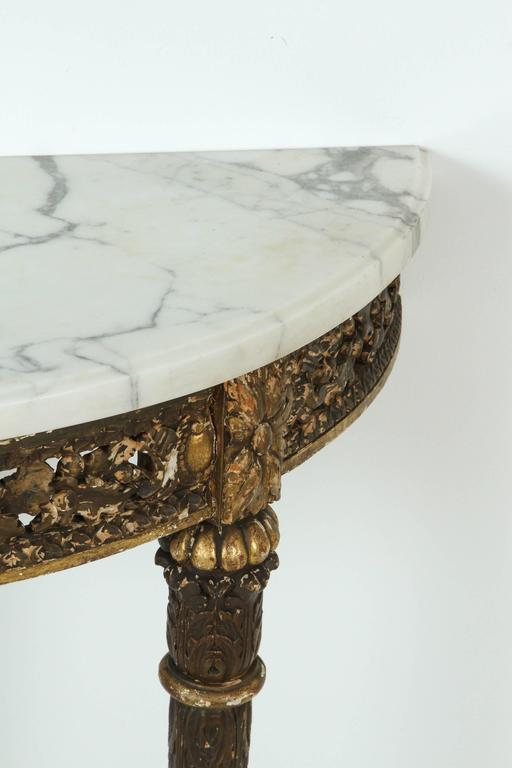 Marble-Topped Demilune Console Table In Good Condition For Sale In Los Angeles, CA