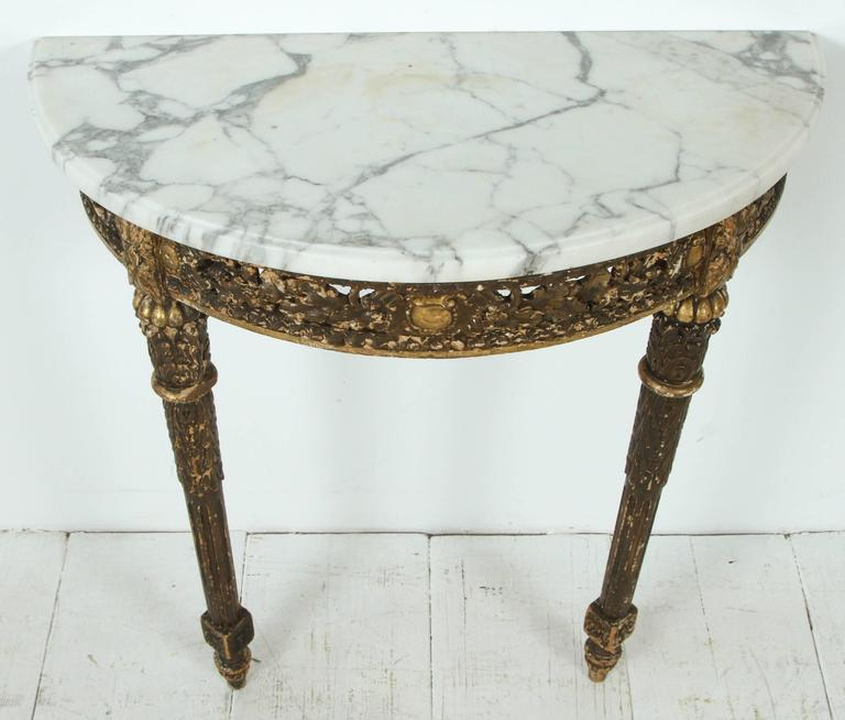 Mid-20th Century Marble-Topped Demilune Console Table For Sale