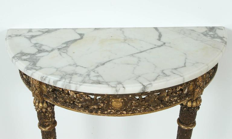 Marble-Topped Demilune Console Table For Sale 1