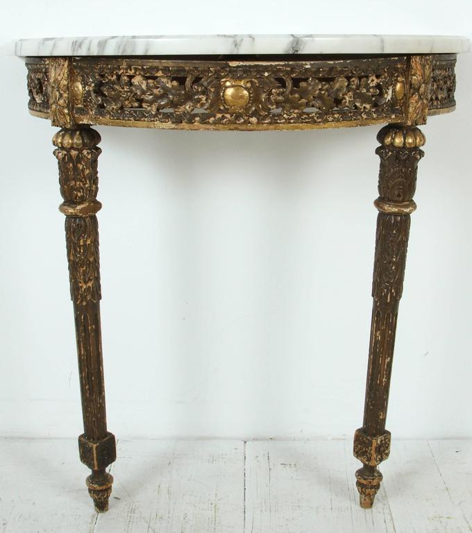 Marble-Topped Demilune Console Table For Sale 4