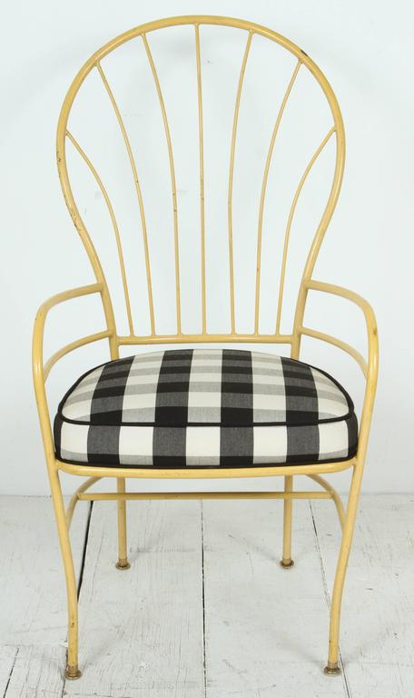 Folk Art Set of Four Yellow Metal Outdoor Chairs in Black and White Check Fabric For Sale